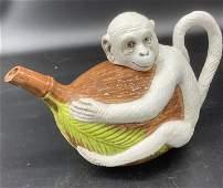 Italian Hand Painted Monkey Form Ceramic Teapot