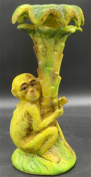 Tabletop Hand Painted Ceramic Monkey Statue