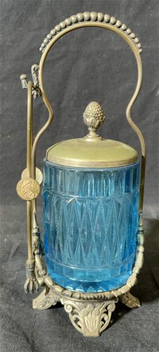 Antique Silver Plated & Glass Pickle Jar w/Tongs