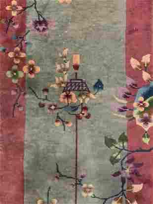 Vintage Chinese Art Deco Wool Runner
