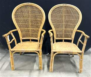 Pair Woven Wicker Fan Back Chairs