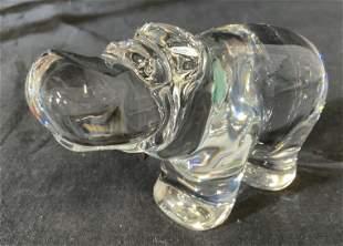 VAL ST LAMBERT Art Glass Crystal Hippo