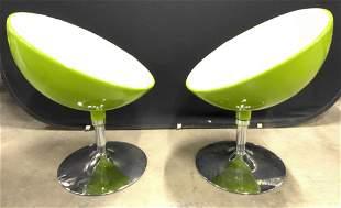 Pr Mid Century Modern Half Ball Style Chairs