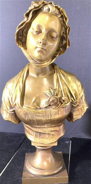 E. Laurent Gilt Bronze Bust of Girl FRANCE, signed