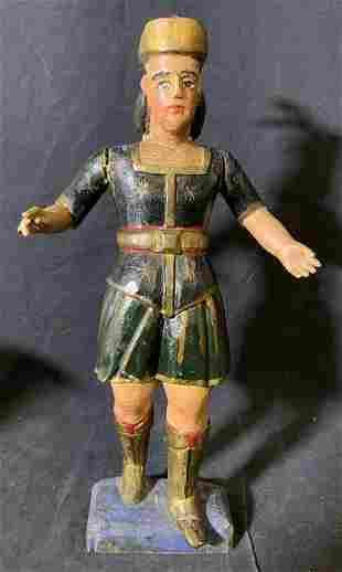 Hand Painted & Carved Wooden Figure