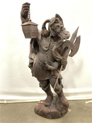Antique Folk Art The Night Watchman Sculpture 36in
