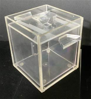 MCM LUCITE Ice Bucket w Insert, Collectible