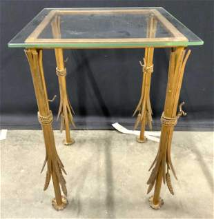GILT IRON Accent Table W Wheat Legs & Glass Top