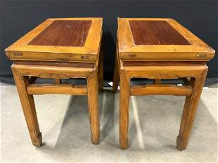 Vintage Carved Wooden Asian Side Tables