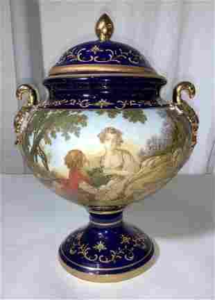 Signed Cobalt Blue Hand Painted European Urn Vase
