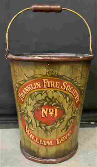 FRANKLIN FIRE SOCIETY No1 Wooden Bucket