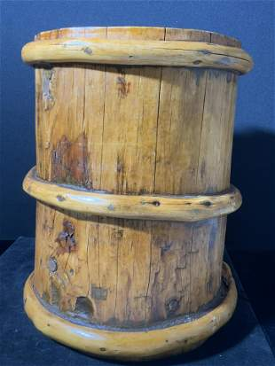 Antique Handmade Wooden Artisan Vessel