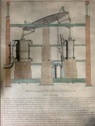 Antique Watt's Steam Engine Lithograph