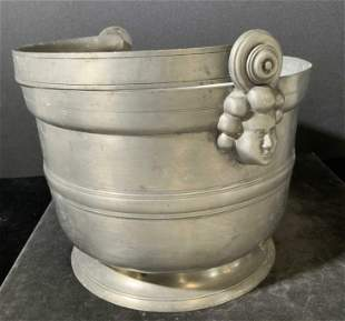 Signed Antique French Silver Tone Metal Bucket