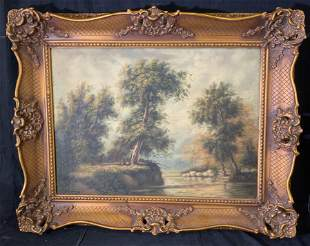 F THOMAS Signed Oil Painting Landscape