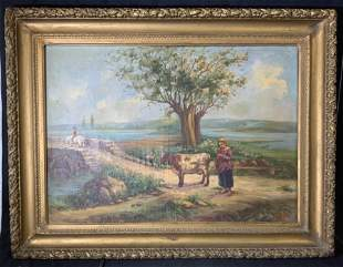 A FARECI Signed Oil Painting Landscape Artwork