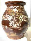 Early 19th C Glazed & Hand Painted Terra Cotta Jug