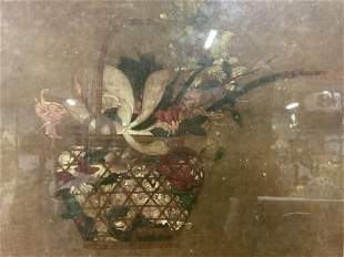 MITSUAKI Lithograph of Basket of Flowers Artwork