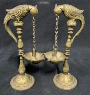 Pair Vintage Brass Parrot Diya Lamps