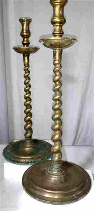 Pair Vintage Twisted Brass Candlesticks