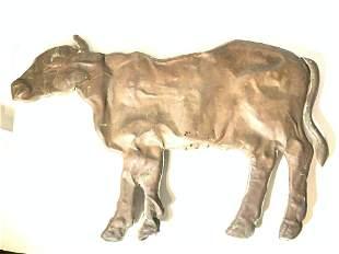 ANTIQUE FOLK ART METAL COW FIGURAL 31 in