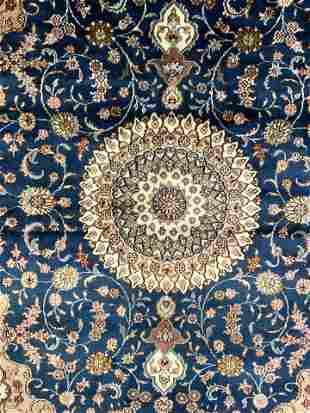 Handmade Oriental Silk Rug W Fringes