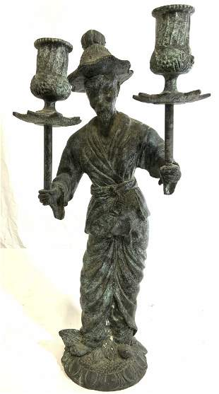 Asian Bronze Elderly Male Figural Candelabra