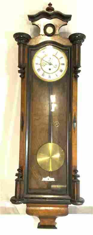 Vintage Carved Wooden Wall Clock W Glass Door