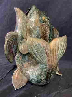 Ceramic Hand Painted Fish Vase