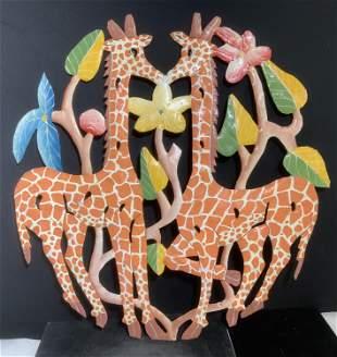 Pair Giraffe Enamel Arts & Crafts Wall Plaques