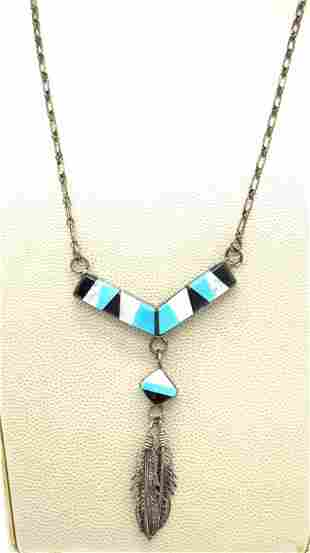 Sterling Silver Native American Pendant Necklace