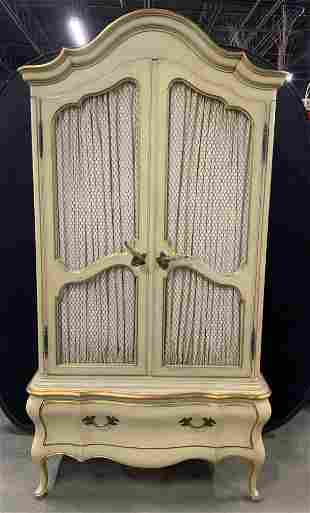 Vintage Wood Painted French Armoire