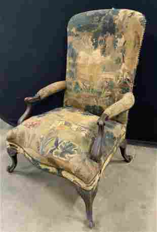 Antique Upholstered Tapestry Library Chair