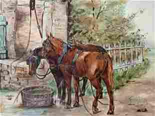 Antique LOUIS B MCCANN Signed Watercolor Painting