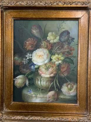 Signed Oil on Canvas Floral Still Life Artwork