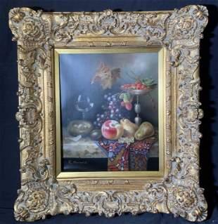 R. BERNARD Signed Oil on Canvas Still Life