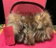 ESCADA Leather Racoon Fur Purse w Box, Italy