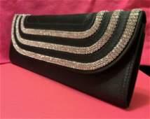 ESCADA, Black Silk Rhinestone Evening Bag W Tags