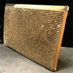 ESCADA Gold Mini Crystal Mesh Overlay Silk  Purse