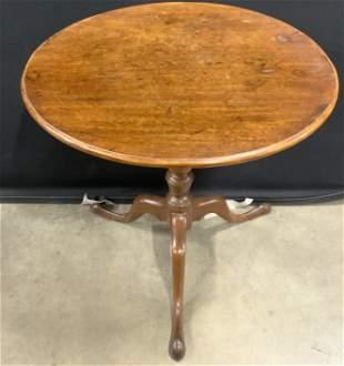 Vintage Carved Wooden Pedestal Table