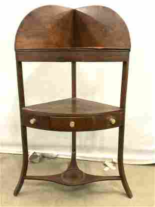 18th C English Corner Wash Stand W Leather Topper