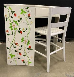 Lot 2 Vintage Hand Painted Corner Desk & Chair