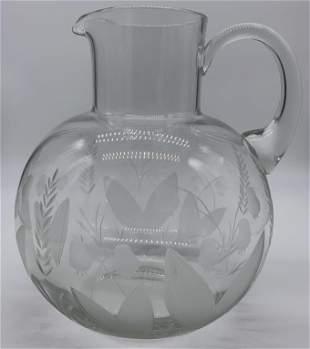 Vintage TIFFANY & CO Etched Crystal Pitcher