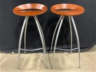 Pair LYRA Mid Century Modern Bar Stools