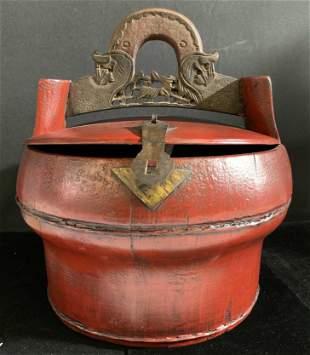 Vintage Asian Handcrafted Red Wooden Basket