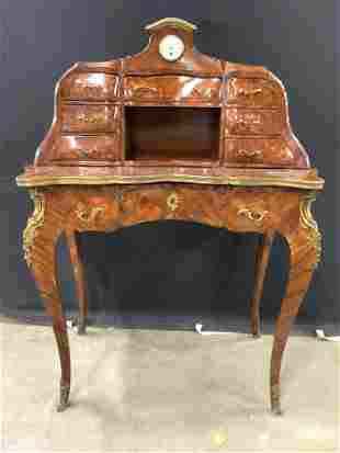 19th Century Ornate French Inlay Wooden Desk