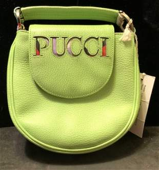 Emilio PUCCI Lime Green Leather Purse w Tags