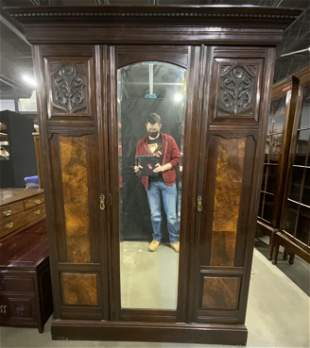Antique Carved Wood Wardrobe Closet