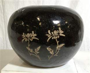 Vintage Chinese Character Blacked Glazed Pottery