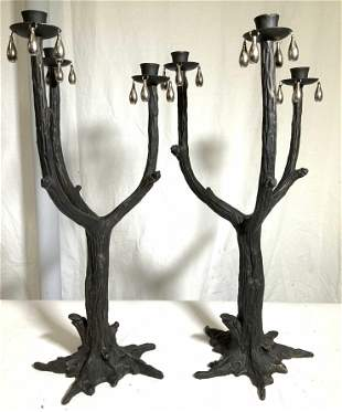 Pair Luxury Boboches Tree Metal Candelabras